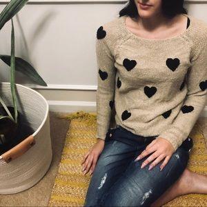 Lauren Conrad Fuzzy Heart Metallic Sweater